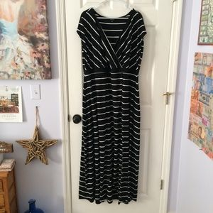 Torrid Black and White Striped Maxi Dress NWOT
